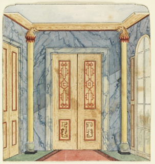 Vertical rectangle. Design for the Royal Pavilion, Brighton. Perspective view of the end of the corridor, with a doorway flanked by half-round columns on the wall facing the spectator, a section of another doorway visible on wall at left, a long window on wall to the right. A blue marbleized design covers the walls.