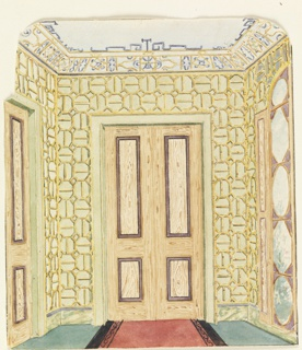 Vertical rectangle. Design for the Royal Pavilion, Brighton. Perspective view of the end of a corridor, with a doorway on the wall facing the spectator, a section of another doorway at left, a long window at right. The wall covering: a bamboo in a geometric pattern. A marbleized dado; trellis design on cove of ceiling.