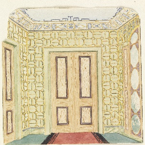 Vertical rectangle. Design for the Royal Pavilion, Brighton. Perspective view of the end of a corridor, with a doorway on the wall facing the spectator, a section of another doorway at left, a long window at right. The wall covering: a bamboo in a geometric pattern. A marbleized dado; trellis design on cove of ceiling.  Original album associated with this collection still exists.  See 1948-40-1 accessory