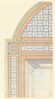 Vertical rectangle. Design for the Royal Pavilion, Brighton. Detail of a design for a ceiling divided into three compartments: a square and two half-oval sections. About one quarter of the design is shown, with the square showing the painted representation of a clouded sky, surrounded by a balustrade and bamboo border. Oval with bamboo trellis-work design.  Original album associated with this collection still exists.  See 1948-40-1 accessory