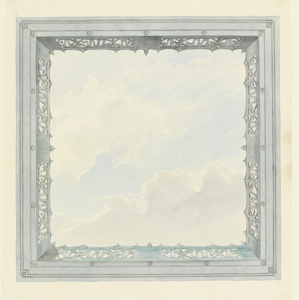 Vertical rectangle. Design for the Royal Pavilion, Brighton. Design for the ceiling of a square compartment, consisting of the painted representation of a clouded sky surrounded by a balustrade, seen in perspective. A serpent motif used in the design of the balustrade.