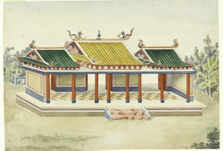 Horizontal rectangle. The building stands on a podium with eight columns supporting the porch; and solid walls at the narrow sides. A flat roof, with gabled structures surmounting it. Three steps lead to the pavilion, which is set in a garden area.