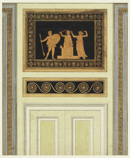 Vertical rectangle: Two panelled doors center, Greek frieze design above, Greek fret design left and right.
