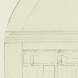 Vertical rectangle.  Wall with three curtained windows divided by two pilasters.  Curved upper portion.