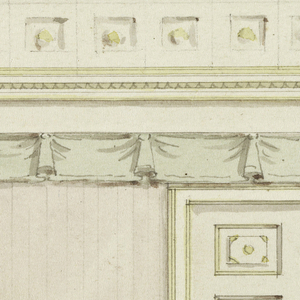 Horizontal rectangle. Wall elevation with center door, valance above, coffered ceiling indicated at top.