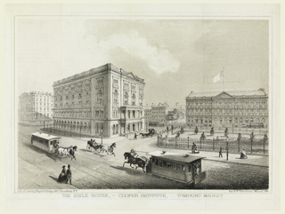 Street scene with view of buildings; horse and carriages and pedestrians going by. Printed in lower margin: THE BIBLE-HOUSE, - COOPER INSTITUTE, - TOMPKINS MARKET.