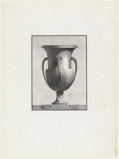 A large vase with a wide, beaded rim. The upper half of the body has a smooth surface; the lower half, vertical ribbing, joined to a short narrow pedestal decorated with acanthus leaves and laurel. Three handles rise vertically from the bottom of the vase to curve in three-quarters of the distance to the rim.