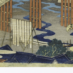 Image shows a landscape with a long bridge with many figures, carrying bundles across it. Lower left foreground depicts roofs of houses and tops of trees. Japanese characters in upper right corner.