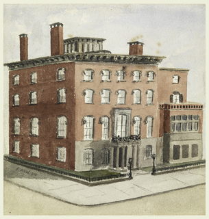 "Large house of red brick; Renaissance façade with porticoed entrance of columns and balcony overhead. Captioned ""Hewitt House, 9 Lexington Ave""."