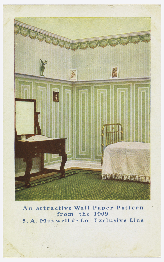 View of a bedroom illustrating the use of wallpaper pattern. Vanity table on left, partial view of bed on right.