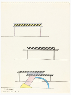 Three registers. Upper register: a horizontal plane in black and yellow stripes sandwiched by gray panels and supported by two pink legs; middle register: striped black panel supported by outlined panel and two outlined legs; lower register: two overlapping striped black panels sandwiching a gray panel supported by two legs and an abstract construct of a pink rectangle, jutting diagonally, supported by a yellow triangle and a blue arc.