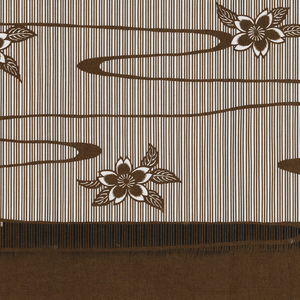 Pattern for textile design featuring cherry blossoms and the ripples of a stream on a striped background cut in the tsuki bori technique.