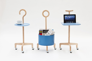 Three canes with added functions (tray, table, magazine bin), photographs.