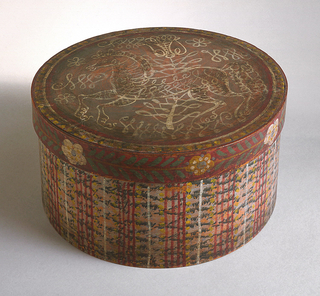 A painted wood box and lid with basket like painted sides and a loosely painted horse on top.