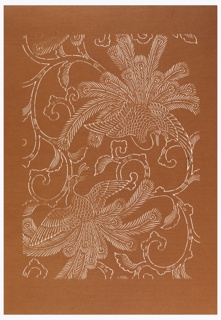 Pattern for textile design of two peacocks perched on ornamental branches about to take flight.