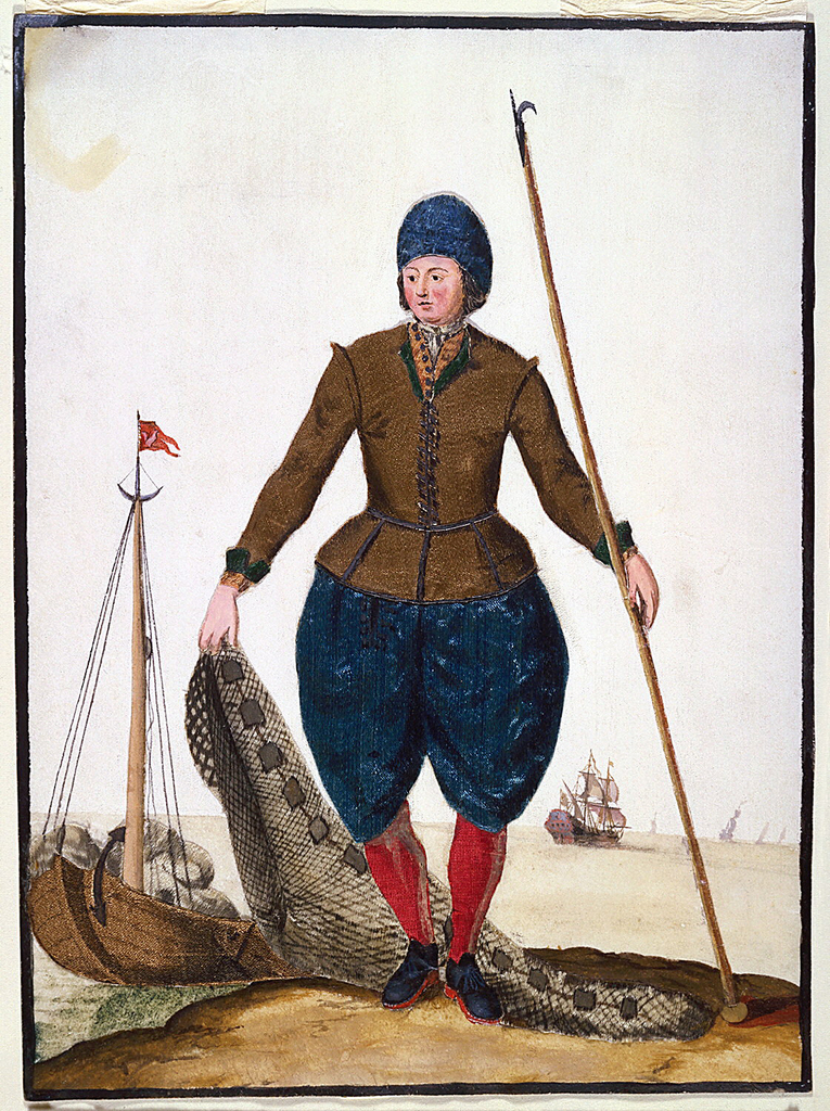 A standing fisherman wearing red hose and blue knickerbockers and hat, holds a net in one hand and a gaff-hook in the other.  A fishing boat, left foreground, and larger sailing craft in the distance.