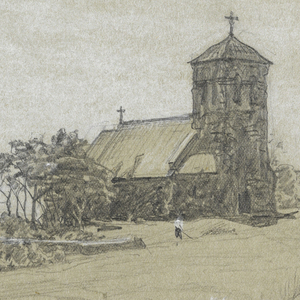 Horizontal rectangle. Hilly country with a view of the sea in the center. A church and a rectory are situated in the right middle plane. A man is haying in front of the church.
