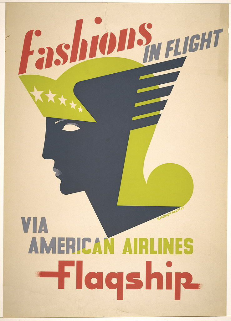 Flattened, stylized head of a woman in left profile. She wears a chartreuse winged helmet with star-studded visor. Text in red, chartreuse, and blue-gray, upper center: fashions / IN FLIGHT; lower center: VIA  / AMERICAN / AIRLINES / Flagship.