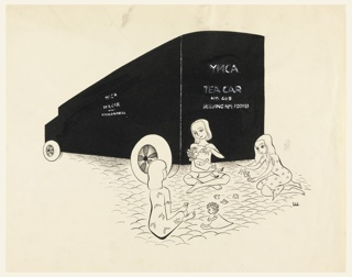 Back view of large mobile canteen. Lower half, three small girls giving their dolls afternoon tea. Inscribed in pen and black ink, on mobile canteen: YMCA Tea Car No. 49 Serving H.M. Forces.