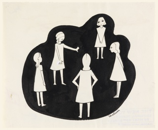 White silhouettes against black background. Five little girls playing blind man's bluff, blindfolded, one facing front.
