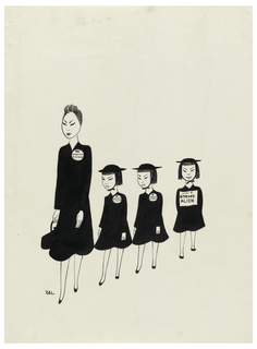 Japanese woman with three small Japanese girls walking single file. All wearing large buttons. Inscribed in pen and black ink, on buttons of mother and two children: American Citizens; on button of third child: Enemy Alien.