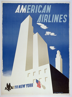 Poster for American Airlines advertising New York. Stylized white skyscrapers in foreground, against blue sky with clouds. American flag hangs from building facade, lower center. Text in light blue and white, upper center: AMERICAN / AIRLINES; in blue, lower left: [American Airlines logo in black] TO NEW YORK.