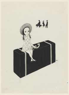 Vertical rectangle. Small girl clutching three daisies and sitting on a large suitcase. Far background, silhouettes of a man, woman and a porter with two suitcases.