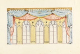 Horizontal rectangle. Design for the Royal Pavilion, Brighton. Elevation of the east wall, showing a design for the decoration of the five windows which comprise this wall. Festoons of patterned and fringed drapery are held in place by carved snakes. On the piers between the windows are fluted draperies radiating from a central flower, and vertical folds. Carved cornice above.