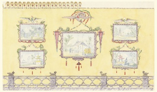 Horizontal rectangle. Design for the Royal Pavilion, Brighton. Elevation of a wall. A series of five painted Chinese pictures are seen against a neutral yellow background, pairs of smaller paintings flanking the large central one. The central panel is enclosed in a painted frame, upheld by a bird with bright plumage. A painted railing below, section of molding above.