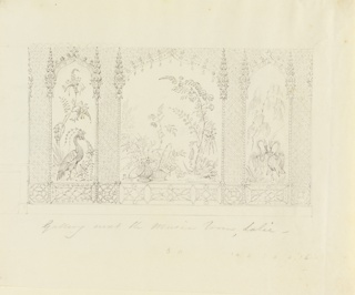 Elevation of a wall. A large central panel of large flowering plants and containers with flowers is flanked by two narrow panels of birds and plants. These are enclosed in frames which terminate at top in cusped arches in the Indian style, the entire decoration reflecting this taste.