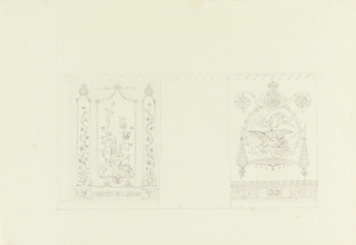 Design for wall decoration. The outline indications of a mantelpiece in the center, flanked by painted wall panels. At left, a painting of foliage and birds with narrow panels on each side of flowers. At right, a circular painting of fighting birds and dragons.
