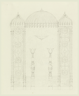 Canopy-like decorations of Indian design with wide compartments flanked by two narrow ones, each surmounted by domes. The narrow sections have columns with leafy shafts, the space between filled with geometric flower motifs. Hanging light figures in center.
