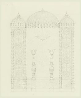 Drawing, Standards and Wall Decoration, Banqueting Room, Royal Pavilion, Brighton