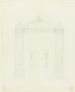 Canopy-like decorations of Indian design with wide compartments flanked by two narrow ones, each surmounted by domes. The narrow sections have columns with leafy shafts, the space between filled with figures within niches. Wide areas contain two candelabra, with leafy shafts surmounted by lotus leaves.