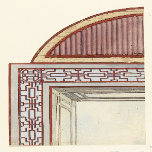 Vertical rectangle. Design for the Royal Pavilion, Brighton. Detail of a design for a ceiling divided into three compartments: a square and two half-oval sections. About one quarter of the design is shown, with the square containing the painted representation of a clouded sky, surmounted by a balustrade and a wide trellis-work border. The oval contains bamboo in striped pattern. Red Chinese fret. The shape tells us that it was intended for the conservatory. Roof is painted in imitation of the teakwood and rosewood.  Original album associated with this collection still exists.  See 1948-40-1 accessory