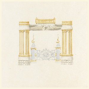 Horizontal rectangle. Design for the Royal Pavilion, Brighton. The vertical elements of the design are semicircular in section composed of a series of colonnettes with simple capitals and bases. The entablature of the mantel is composed of a dragon with outstretched wings, in bold relief. Andirons and fire-screen, in the Chinese style, included in design.  Original album associated with this collection still exists.  See 1948-40-1 accessory