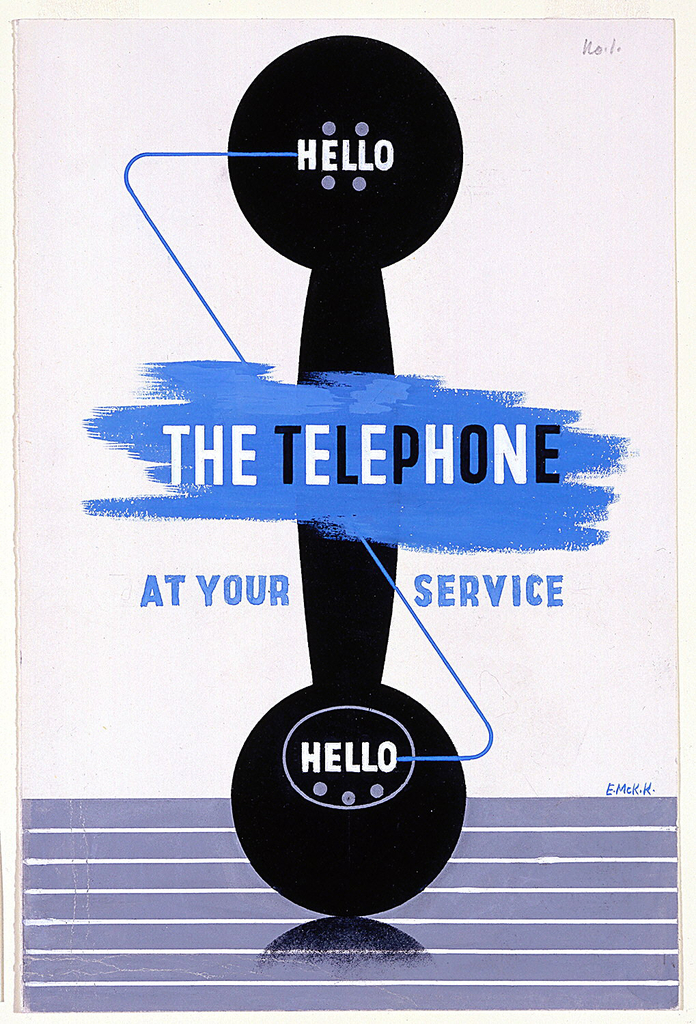 """Shape of a black telephone receiver facing forward, standing upright on a striped blue-gray ground. Text in white, at both ends of the receiver: """"HELLO""""; Superimposed overfblue brushtrokes in white and black text, center: THE TELEPHONE; below, on either side of the telephone receiver, in blue text: AT YOUR / SERVICE."""