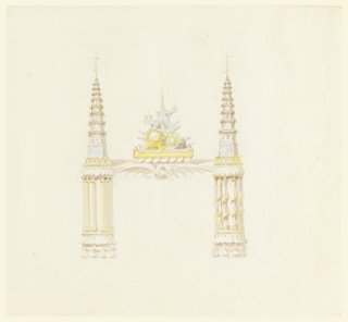 Vertical rectangle. Design for the Royal Pavilion, Brighton. The joints are composed of short circular columns, surrounded by colonnettes, and having bases and capitals of conjoined lotus leaves. The cornice is supported in the center on the expanded wings of a dragon. The colonnettes, at right, are slightly different in design. A pair of porcelain pagodas and clock as mantel decoration.  Original album associated with this collection still exists.  See 1948-40-1 accessory