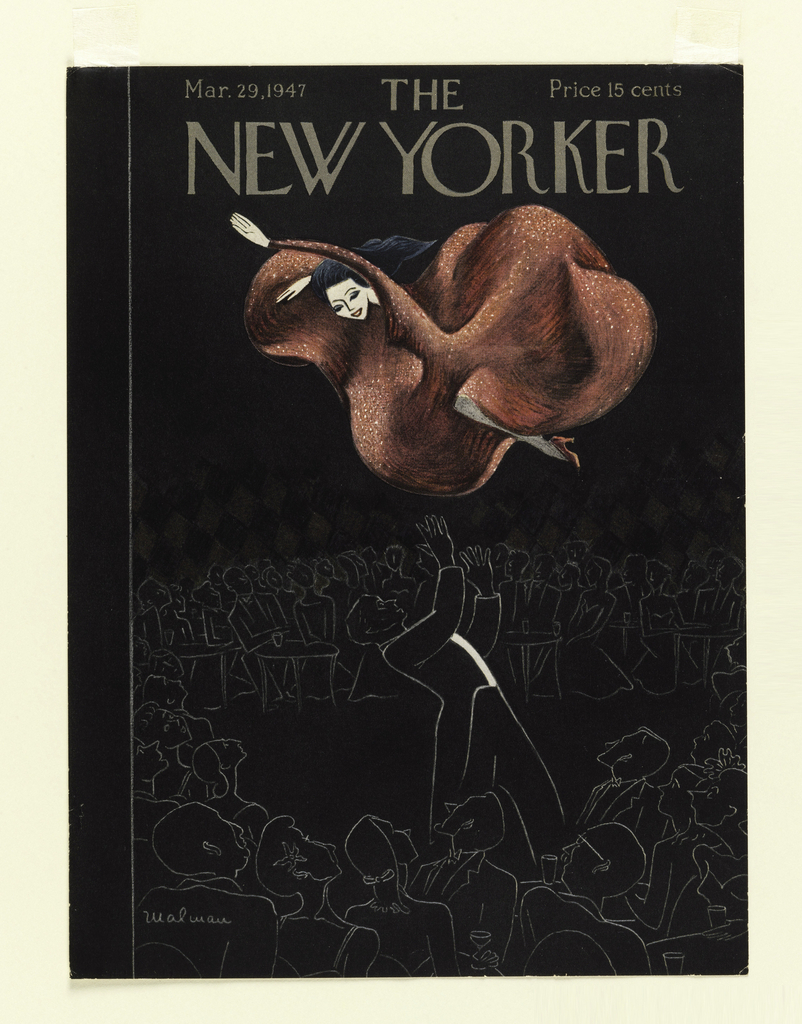 A female café dancer, wearing a red dress, flies through the air, and is about to be caught by her male partner; female figure is pasted on. Spectators, in outline only, surround the group. Above: Mar. 29, 1947 THE Price 15 cents / NEW YORKER.