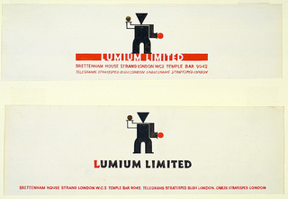 In the center, an abstract standing figure with a gold dot and red dot for hands. Outlined in red, below: LUMIUM LIMITED / BRETTENHAM HOUSE STRAND LONDON W. C. 2 TEMPLE BAR 9042 / TELEGRAMS STRATESPED BUSH LONDON. CABLES STRATESPED LONDON.