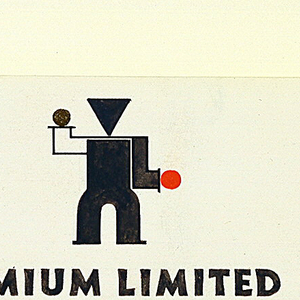 Design for stationary letterhead (and possiblly the logo) for Limium Limited. At center top, an abstract standing figure with a gold dot and red dot for hands and a triangular head. Centered below the figure, in black lettering LUMIUM LIMITED [first L is in red]. Below, in red lettering: BRETTENHAM HOUSE STRAND LONDON W. C. 2 TEMPLE BAR 9042. TELEGRAMS STRATESPED BUSH LONDON. CABLES STRATESPED LONDON.