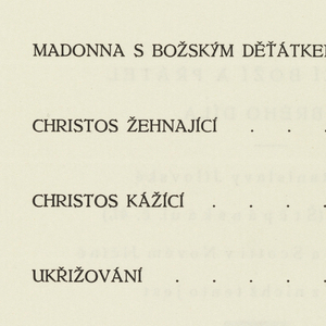 Page printed with table of contents written in Czech. Verso: colophon down middle of page in Czech.