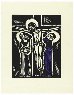 Vertical rectangle. Image of a man (Christ) on the cross; two figures flanking cross; woman (Virgin Mary) at right in blue robe.
