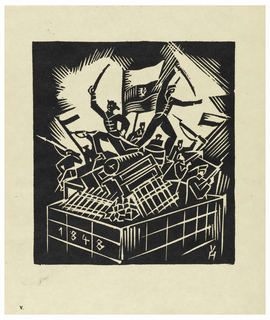 Vertical rectangle. Depiction of revolution. Platform reads: 1848. Several figures standing on platform holding rifles with bayonets; platform loaded with pieces of furniture. Rays of light emanate from group.