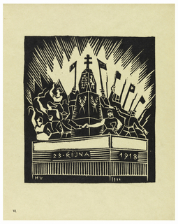 Vertical rectangle. Depiction of peaceful rule. Platform with text: 28 RIJNA; 1918. On platform several figures, holding banners and bayonets, stand around a large monument topped with a double Orthodox cross. Figures have arms up; two figures at the front shake hands. Rays of light emanate from group.