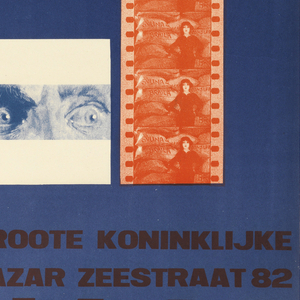 Poster for an international film exhibition with text and images in black, red and blue. A large blue square in lower right section depicting photographic reproduction of a man's eyes and a red film strip of a woman. Text in red at oblique angle across square: FILM. Above, text in blue: INTERNATIONALE / TENTOONSTELLING / OP FILMGEBIED / [in black and red]: ITF. Lower left corner, text in red and blue: 14 APRIL / 15 MEI; 1928 GROOTE KONINKLIJKE / BAZAR ZEESTRAAT 82 / DEN HAAG.