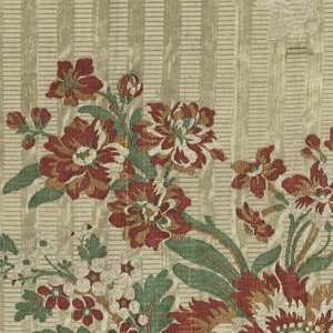 Ground striped vertically with extra warp, white satin and white horizontal ribbing. Red satin border stripes on either side. Large floral sprays brocaded in red, green, and brown silks. Component A has both selvages present. Component B has right selvage present.