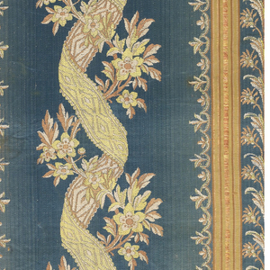 Narrow panel with borders on each side. Blue satin ground with a broad central band of floral vine entwined with serpentine ribbon. Symmetrical borders with stripes and flowers. Design in extra wefts of green, pink, and tan silk.