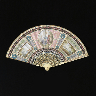 Pleated fan with painted parchment leaf. Obverse: two side rectangular panels; one with a landscape and cows; the other, a landscape with fisherman. The central medallion depicting a woman as the allegory of color. The background in the French Directoire style with pastel colors. Reverse: minute floral decoration along borders. Ivory sticks: carved à jour, gilded and painted. Glass stone at the rivet.