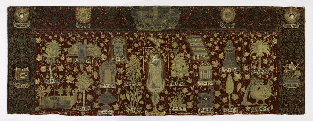 Ruby-colored cut velvet ground embroidered with a depiction of the Virgin and child in the center with attributes and emblems of the Virgin filling the rest of the panel.